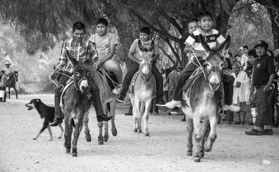 niños montando mulas en zautla oaxaca