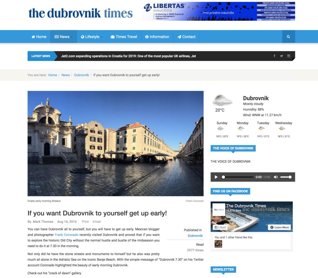bloguero en periodico dubrovnik times