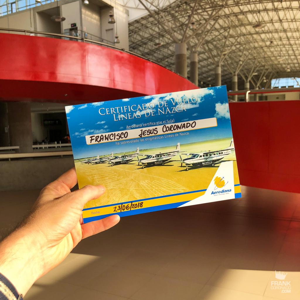 Certificado de vuelo lineas de nazca