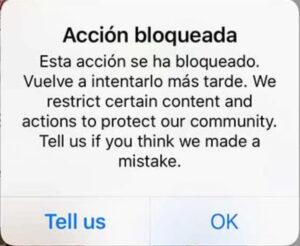 bloqueo instagram, problemas instagram, reporte instagram
