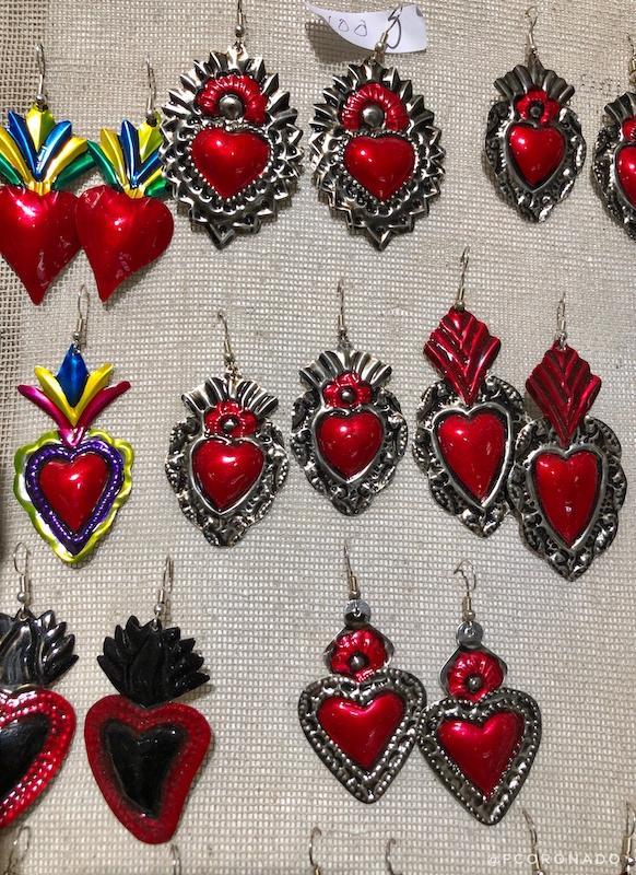 aretes de oaxaca, corazon de hojalata, corazones de hojalata
