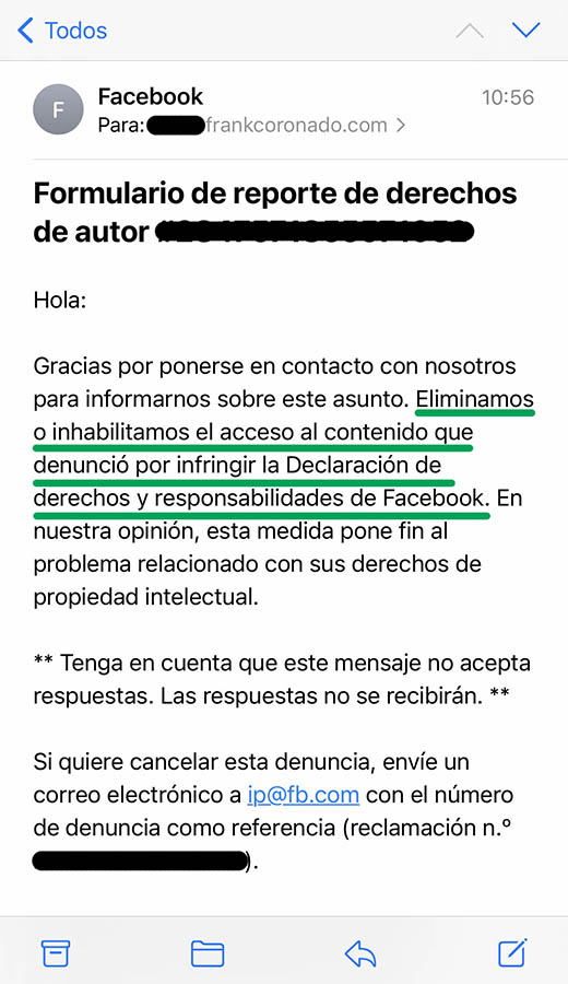 Reporte derechos de autor en facebook