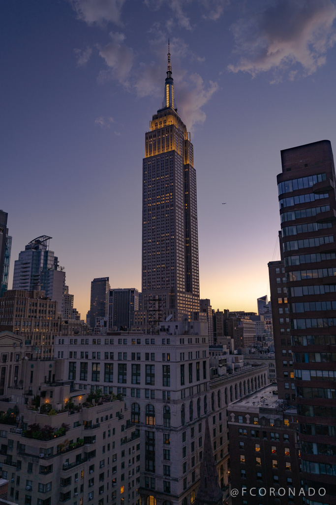 atardecer en la ciudad de nueva york