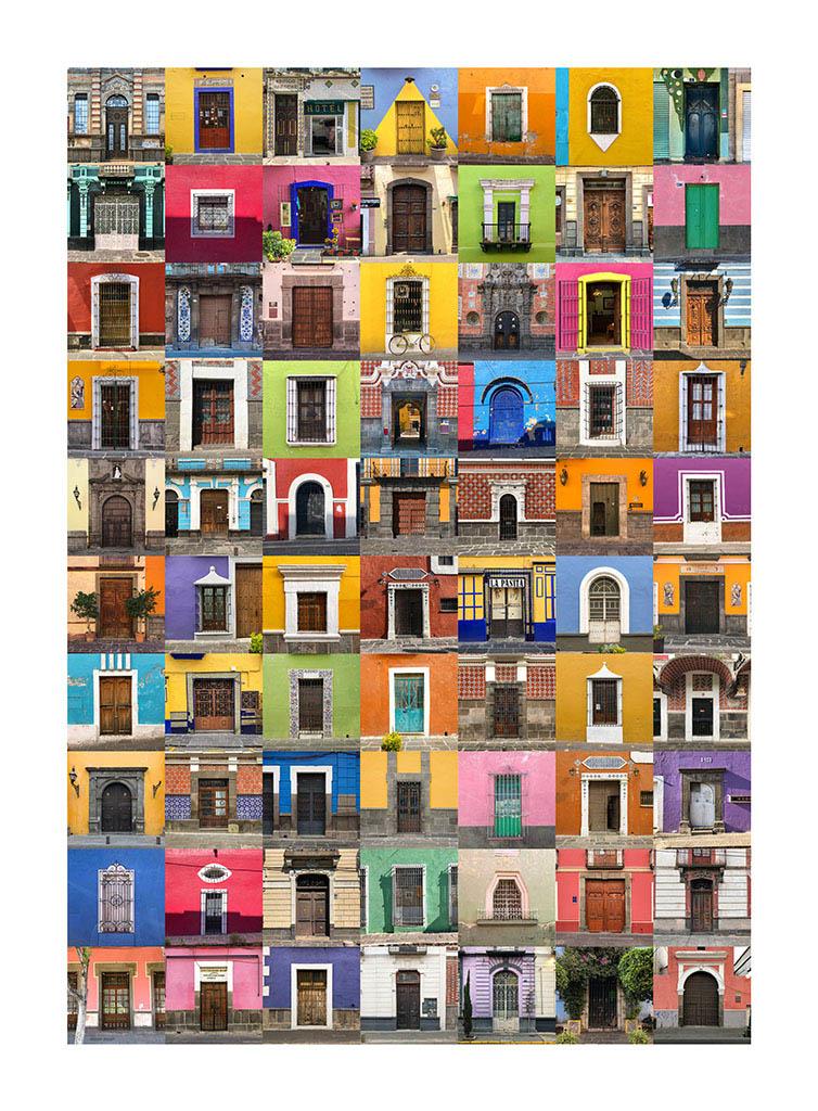 collage con fachadas de Puebla